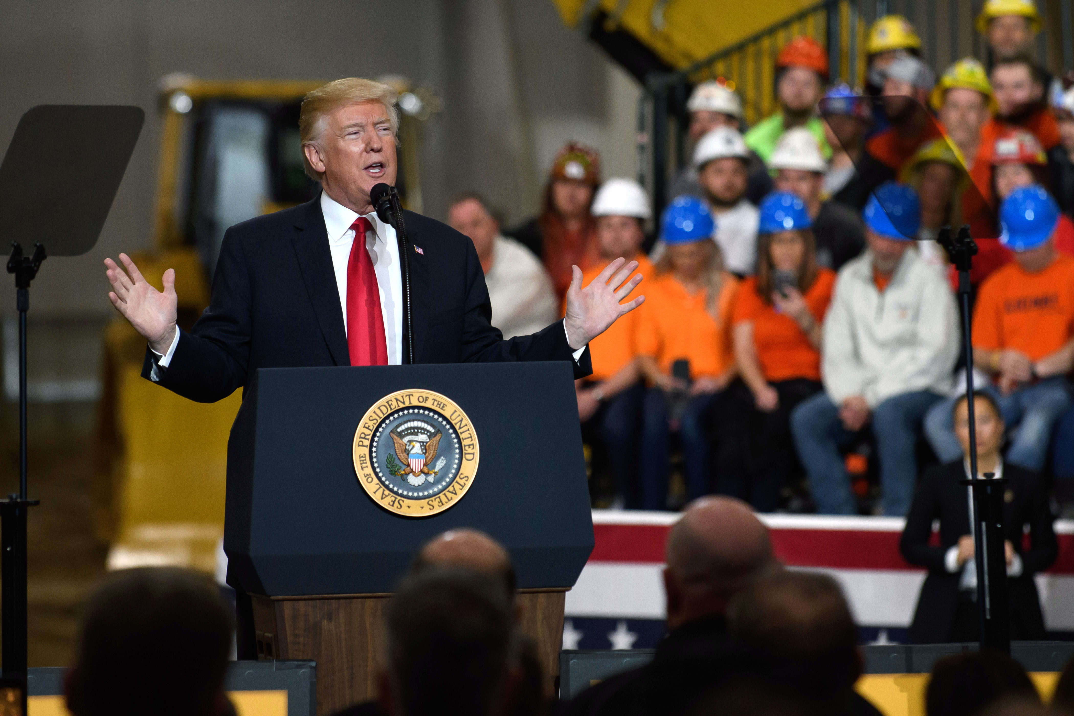Trump speaks to a crowd gathered in Richfield, Ohio, on March 29.