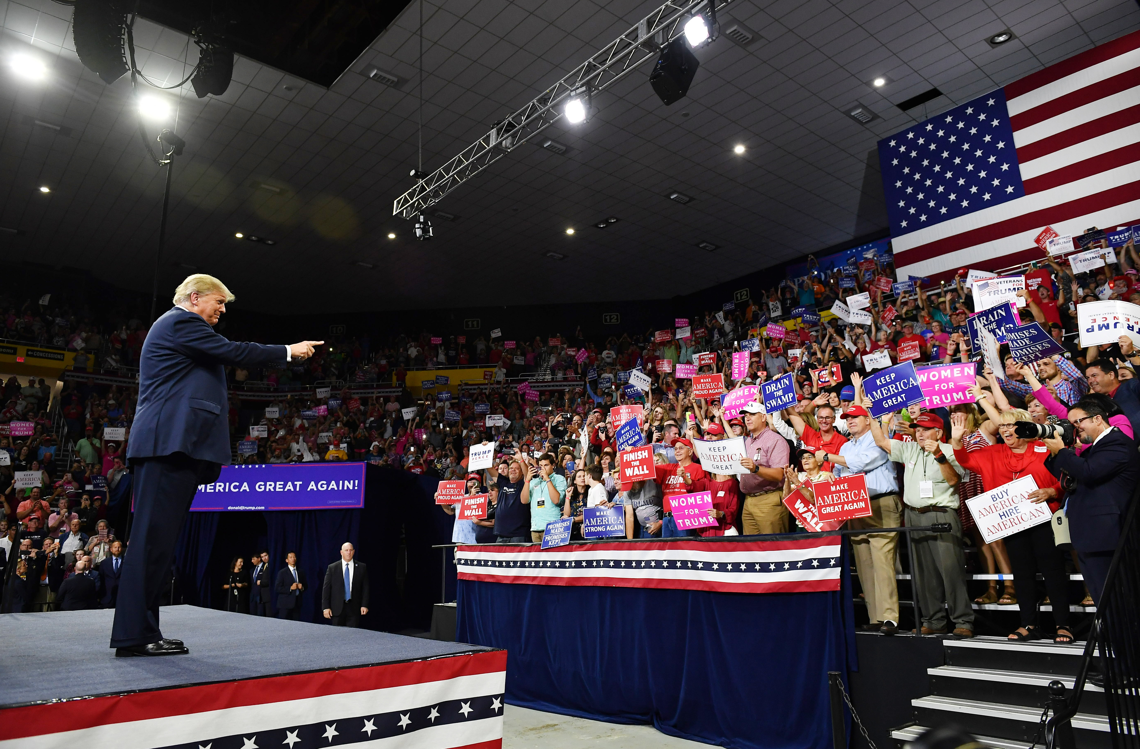 Trump arrives to speak during a rally in Tennessee on Monday