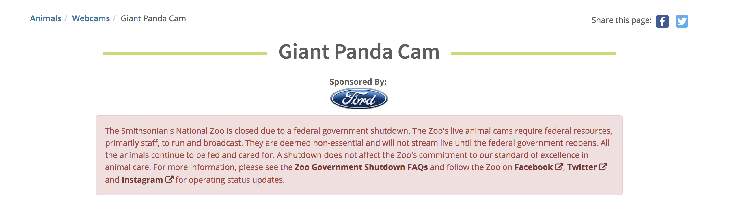 Here's the message currently posted on the Panda cam's website.