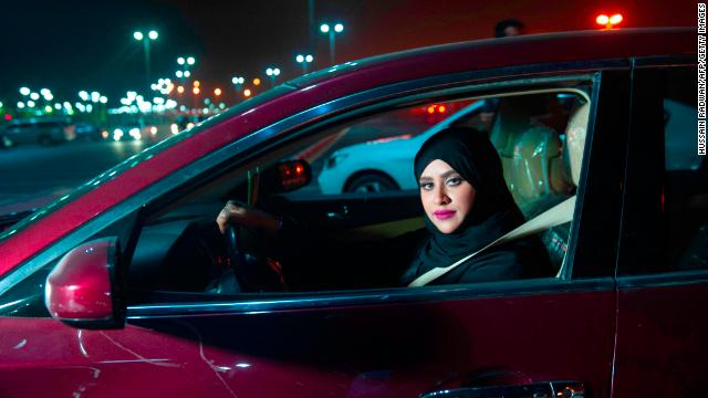 Saudi woman Sabika Habib drives through the streets of Khobar city