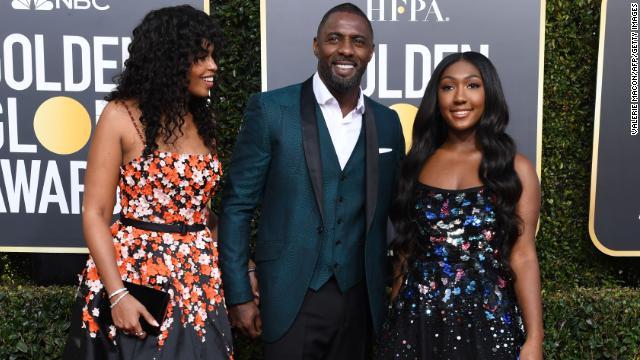 Idris Elba and his daughter, Miss Golden Globe Isan Elba (right)