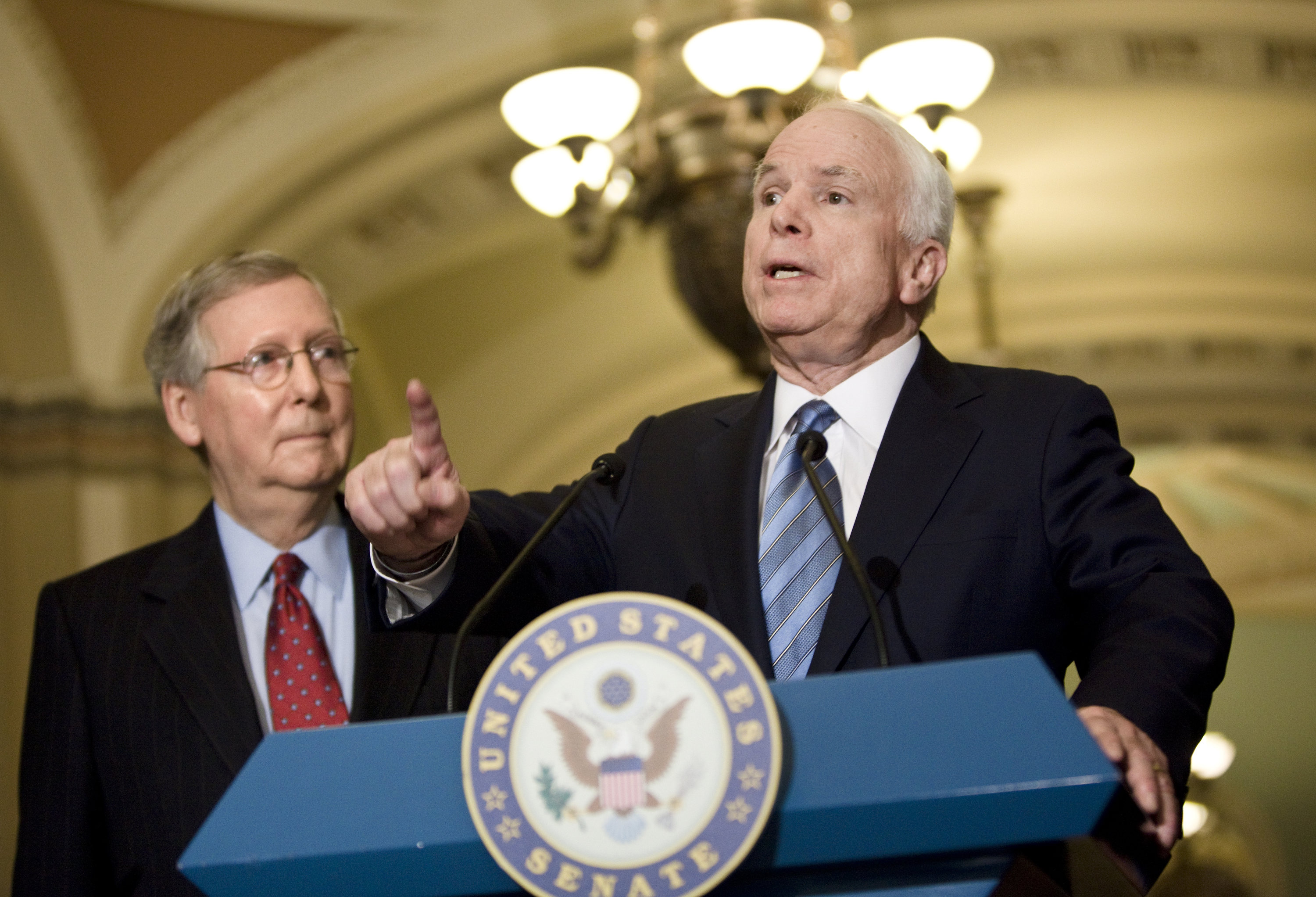 Mitch McConnell and John McCain on Capitol Hill in 2009.