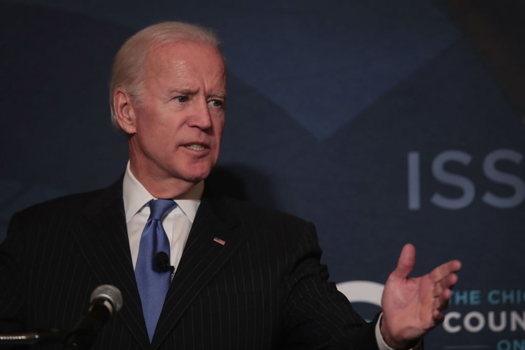Former vice president Joe Biden speaks to the Chicago Council on Global Affairs on November 1, 2017 in Chicago, Illinois. Biden addressed the consequences of U.S. disengagement from world leadership at the event.