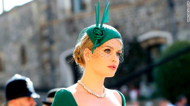 Lady Kitty Spencer opted for a refined teal green fascinator with a knotted sculptural feature.