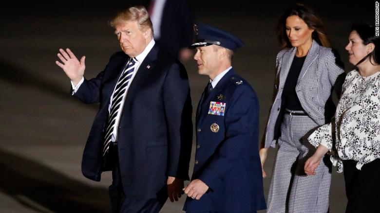 President Donald Trump and the First Lady Melania Trump arrive it Joint Base Andrews.