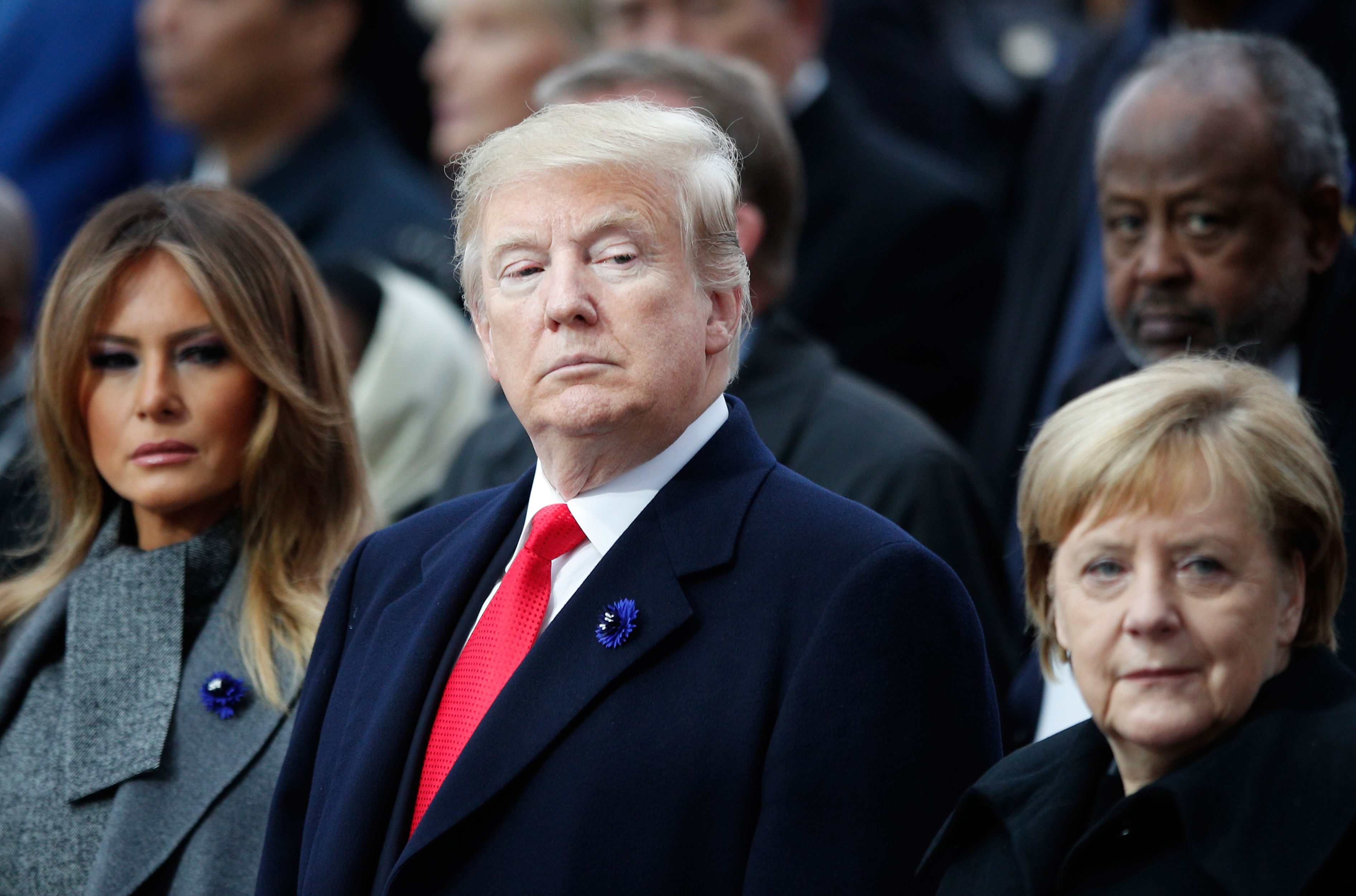 Angela Merkel Topless trump arrives at ceremony separately from other leaders