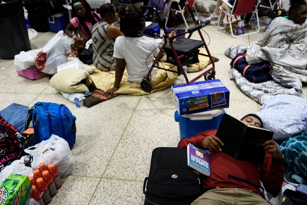People seek safety in a shelter as Hurricane Michael approaches on Oct. 10, 2018 in Panama City, Florida.