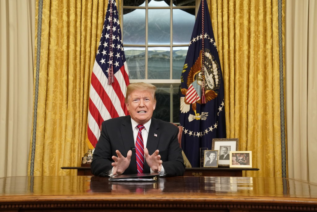 President Trump speaks to the nation in his first-prime address from the Oval Office of the White House on January 8, 2019 in Washington, DC.