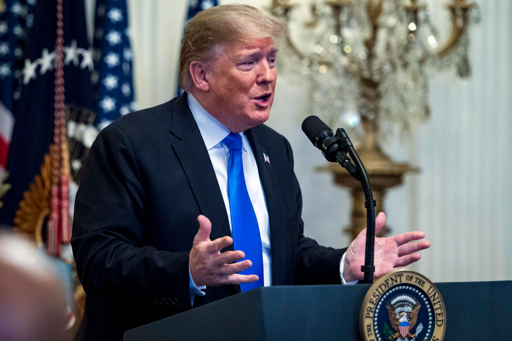 President Trump condemned a series of mail bombs while speaking at the 2018 Young Black Leadership Summit at White House on Oct. 26, 2018 in Washington, DC.