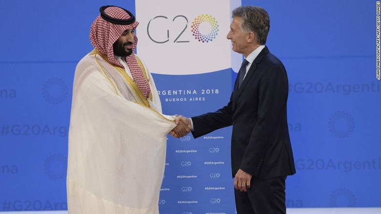 Argentine President Mauricio Macri, right, greets Saudi Crown Prince Mohammed bin Salman at the G20 in Buenos Aires on Friday.