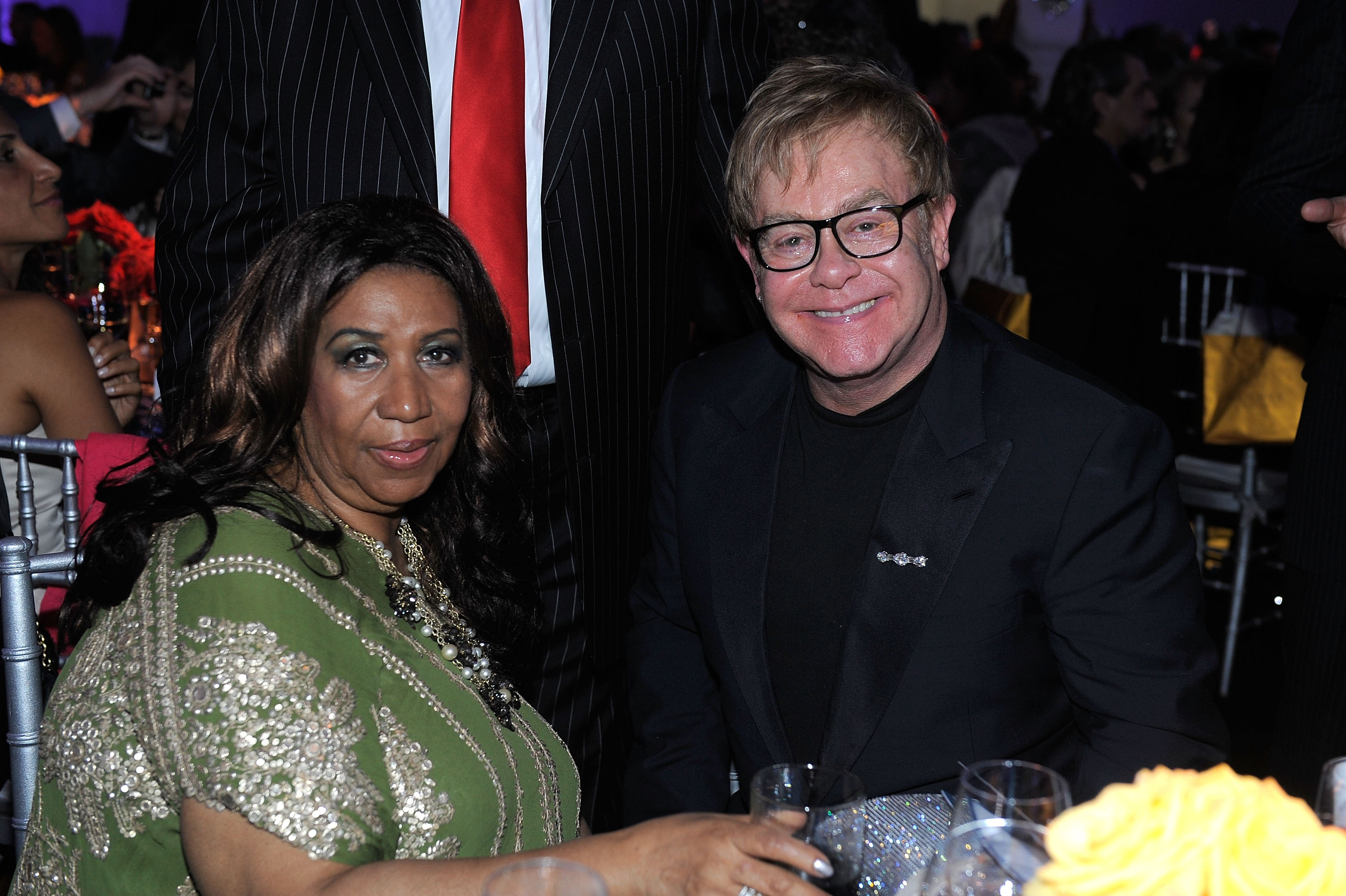 Aretha Franklin  and Elton John in 2011 in New York City