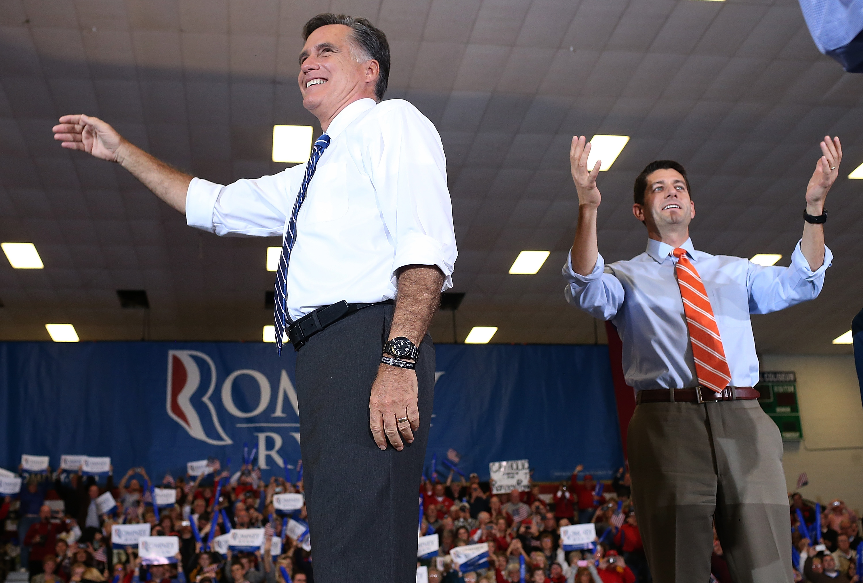 Republican presidential candidate Mitt Romney (l.) and his running mate Paul Ryan in 2012