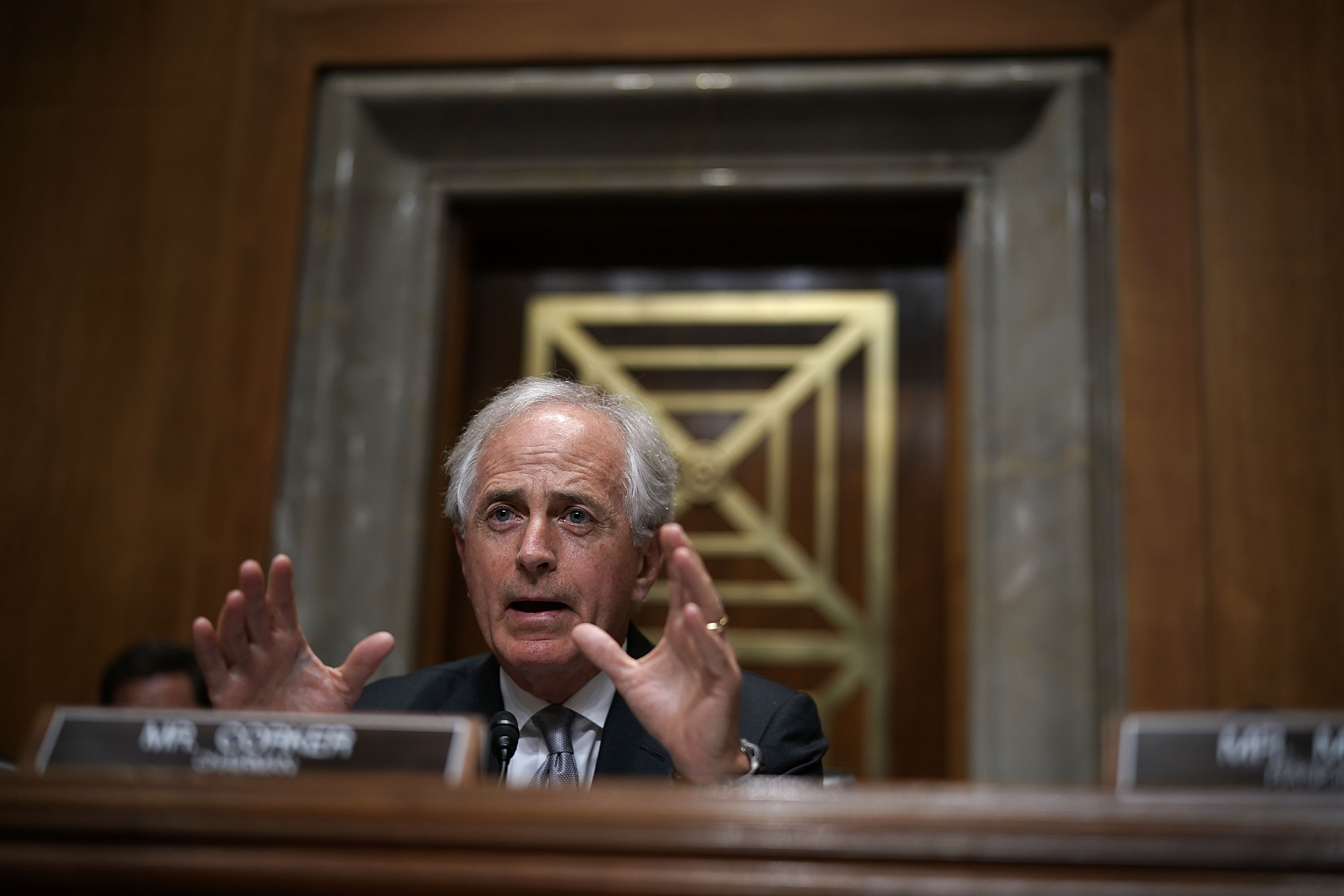 Committee chairman U.S. Sen. Bob Corker (R-TN) speaks during a hearing before Senate Foreign Relations Committee July 25, 2018 on Capitol Hill in Washington.