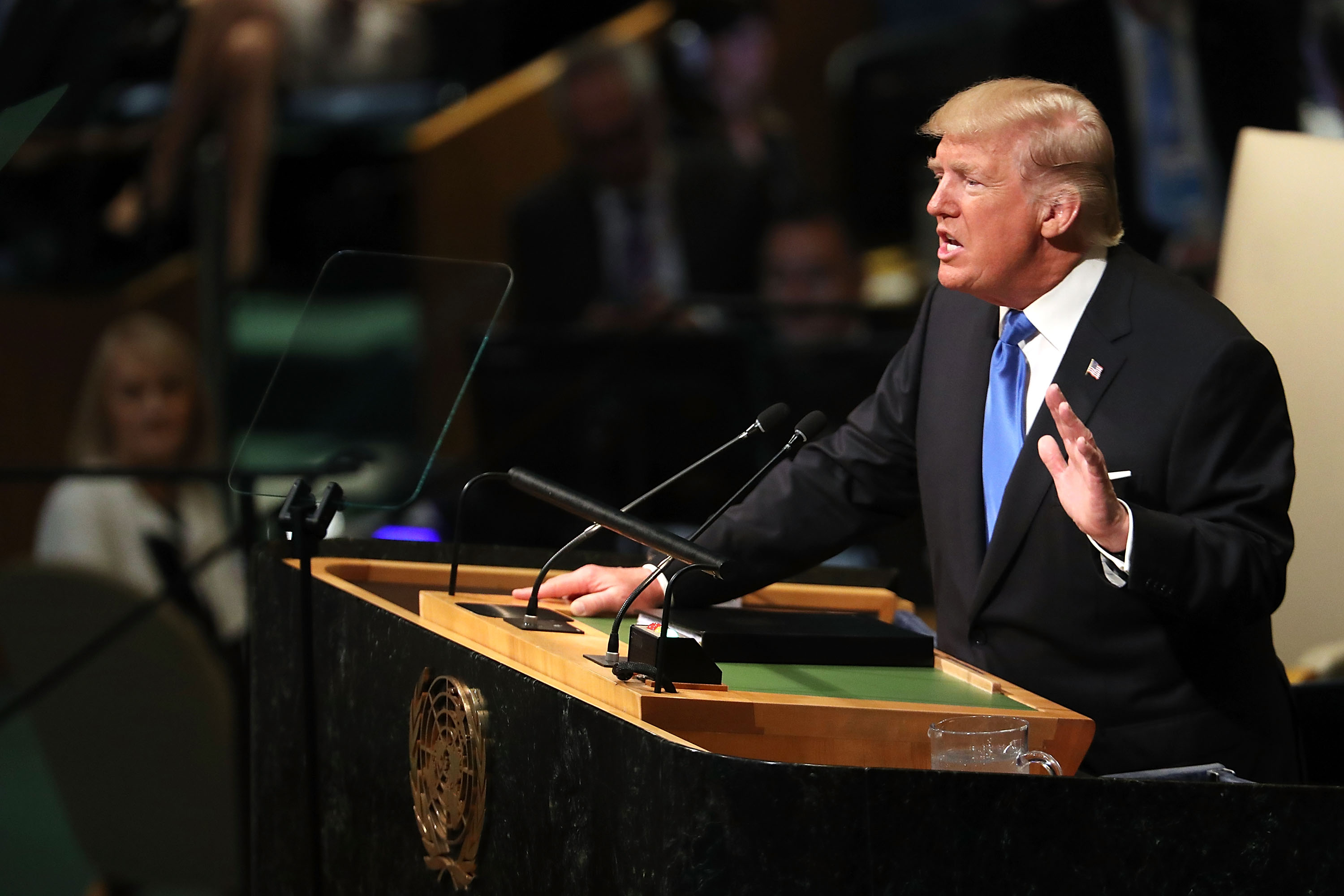 Trump speaks to world leaders at the 72nd United Nations in 2017