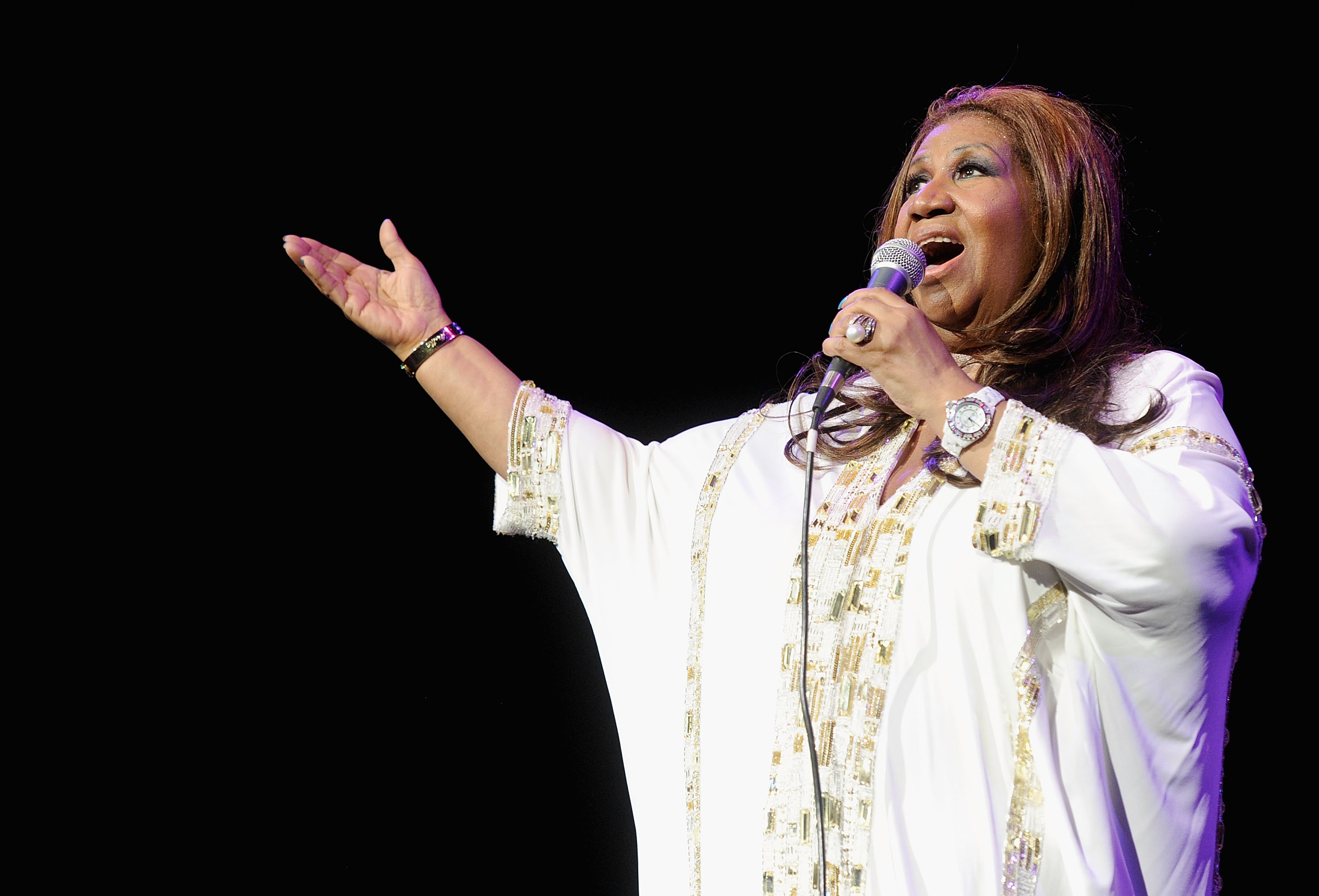 In this file photo, Aretha Franklin performs at Radio City Music Hall on February 17, 2012 in New York City.