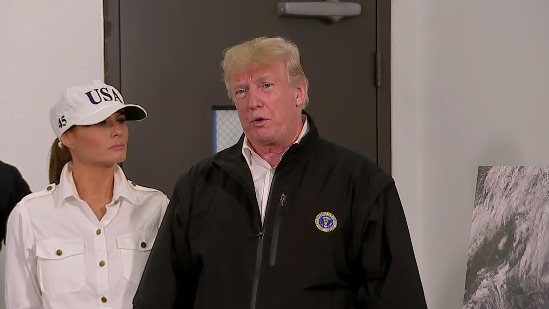 President Trump speaks to reporters in Warner Robins, Georgia.