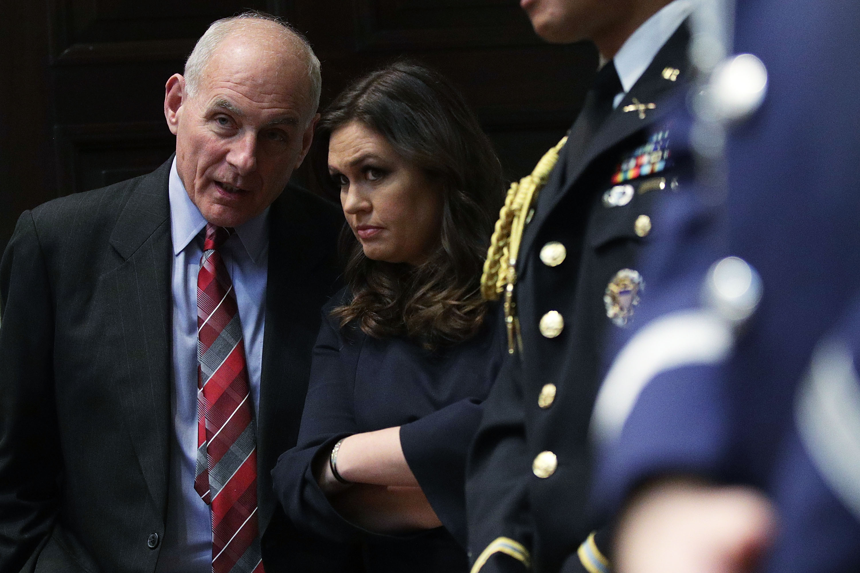 White House chief of staff John Kelly (l.) and White House press secretary Sarah Sanders (r.) are two of the defendants named in the lawsuit.