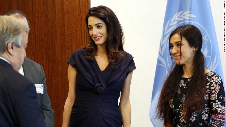 Human rights attorney Amal Clooney and human rights activist Nadia Murad visit the Secretary-General Of The United Nations Antonio Guterres at United Nations Headquarters on March 10, 2017 in New York City.