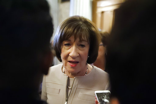 Sen. Susan Collins, R-Maine, talks with reporters after speaking on the Senate floor, on Capitol Hill, Friday, on Oct. 5, 2018 in Washington about her vote on Supreme Court nominee Judge Brett Kavanaugh.