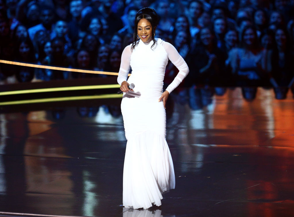Host Tiffany Haddish speaks onstage during the 2018 MTV Movie And TV Awards.