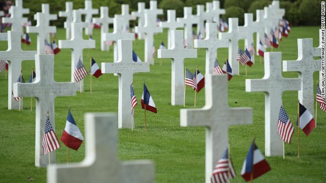 US and French flags flutter at the graves of US soldiers, most of them killed in the World War I Battle of Belleau Wood, at the Aisne-Marne American Cemetery in May 2018.
