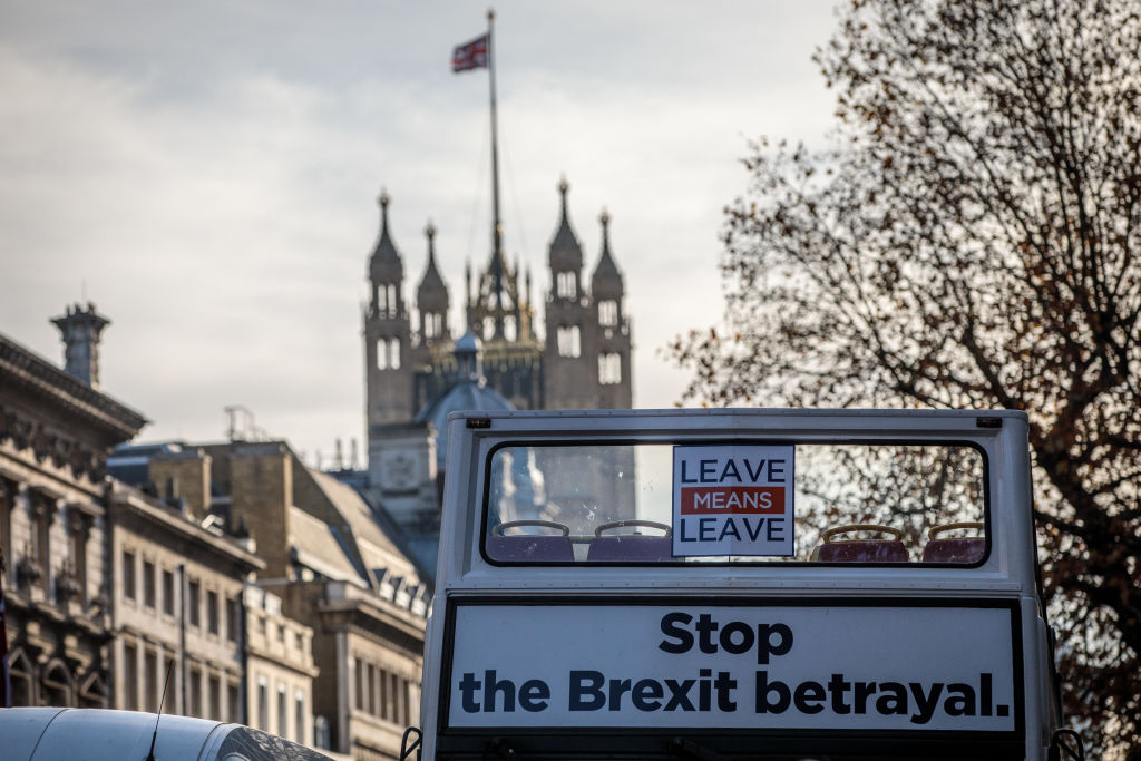 A pro-Brexit bus is driven along Whitehall on Nov. 14, 2018 in London, England.
