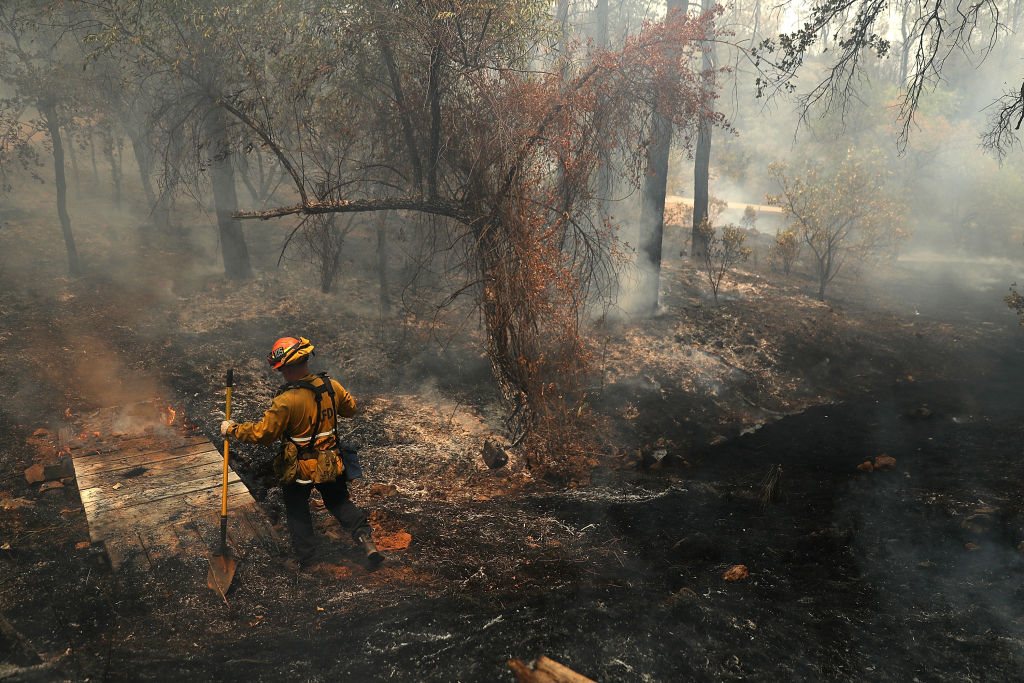 A Los Angeles city firefighter walks through a charred field as he looks for hot spots after the Carr fire burned through the area on July 29, 2018 in Redding, California.