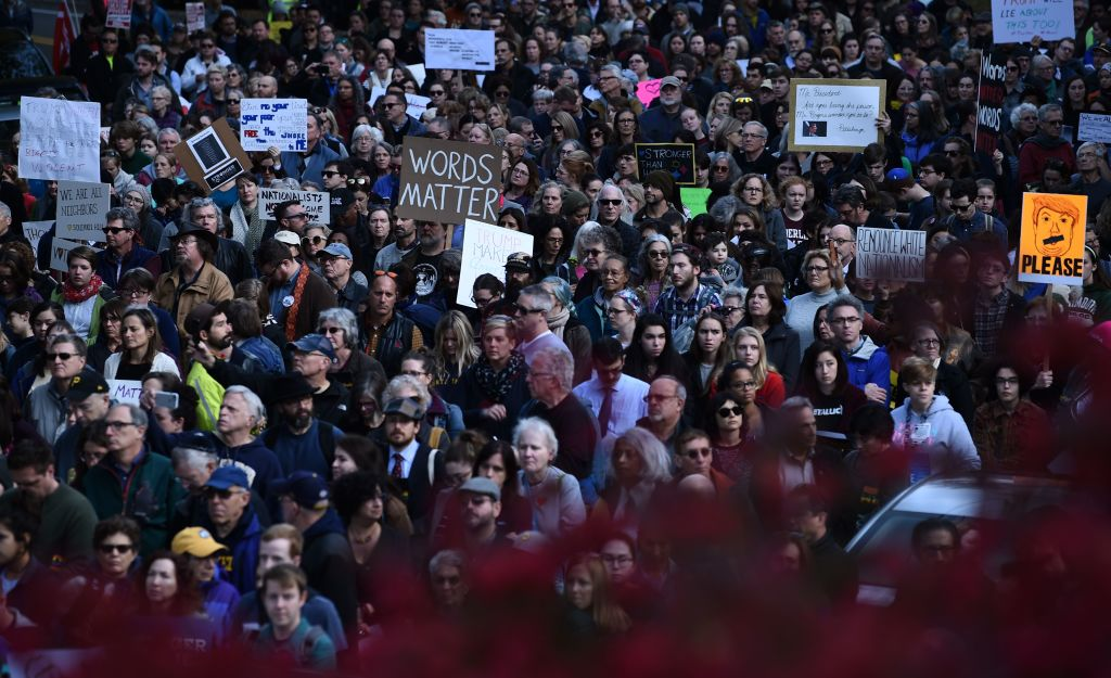 People protesting against President Trump gather near the Tree of Life Congregation on Oct. 30, 2018 in Pittsburgh, Pennsylvania.