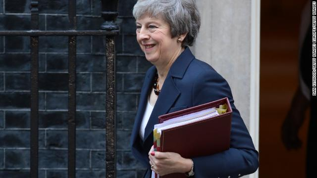 Theresa May leaves 10 Downing Street for Prime Minister's Questions on Wednesday.