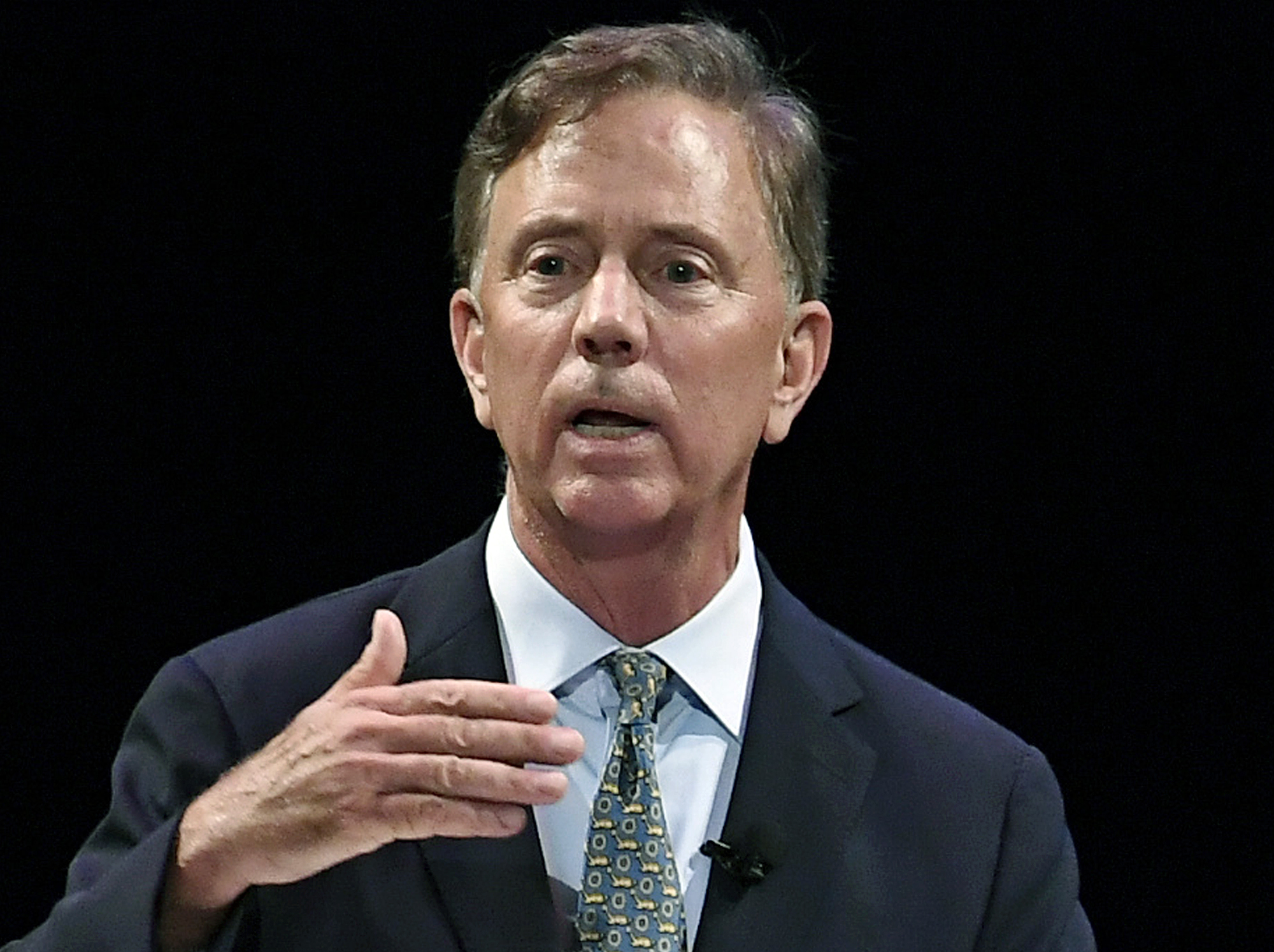 In this July 12, 2018 file photo, Democratic candidate for governor Ned Lamont speaks during a gubernatorial debate in New Haven, Connecticut.