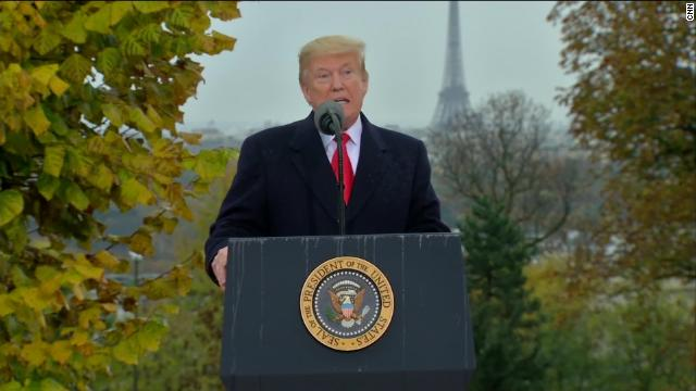 Trump speaking at Suresnes American Cemetery.