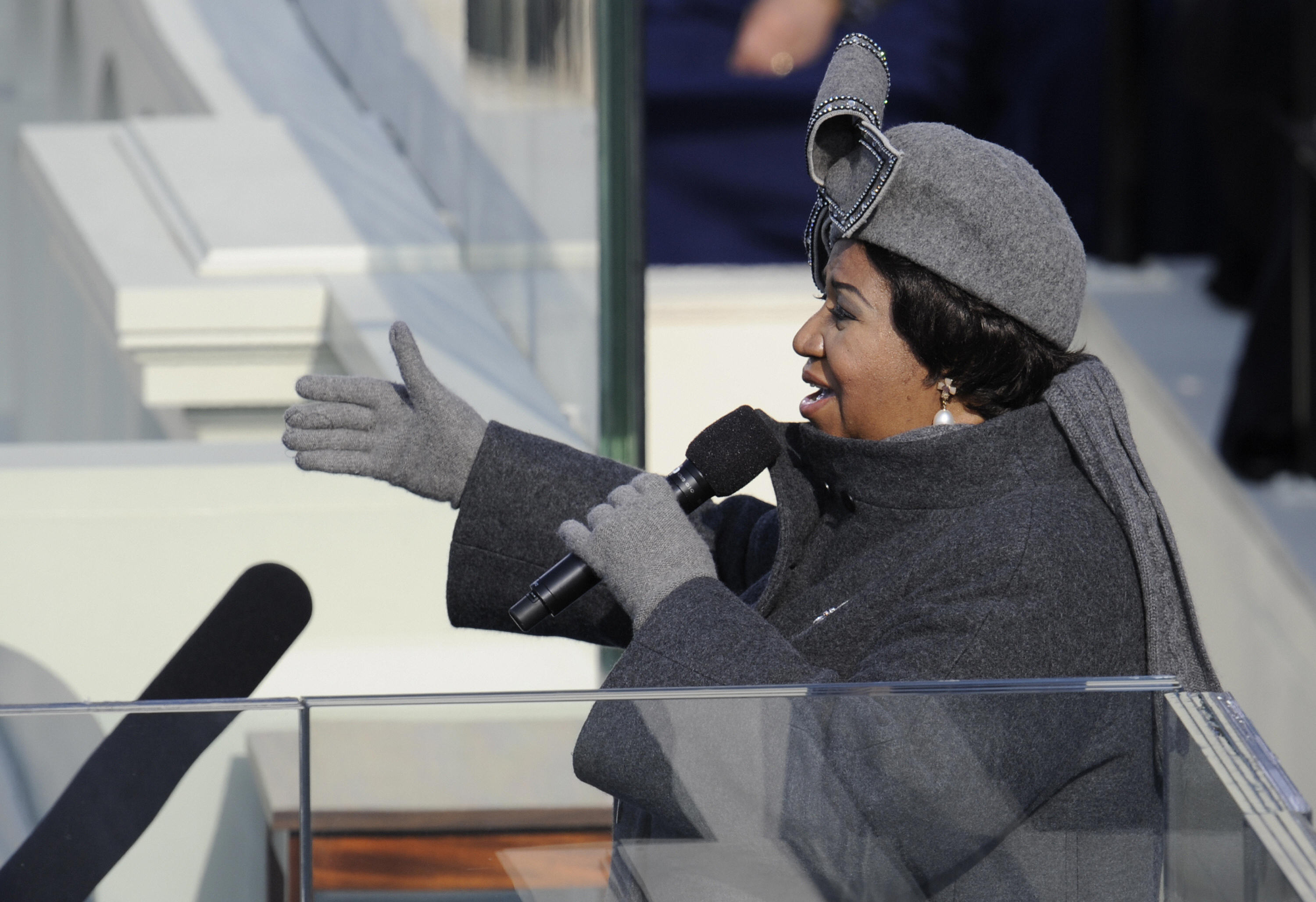Singer Aretha Franklin performs during the inauguration of President Barack Obama at the Capitol in Washington on January 20, 2009.