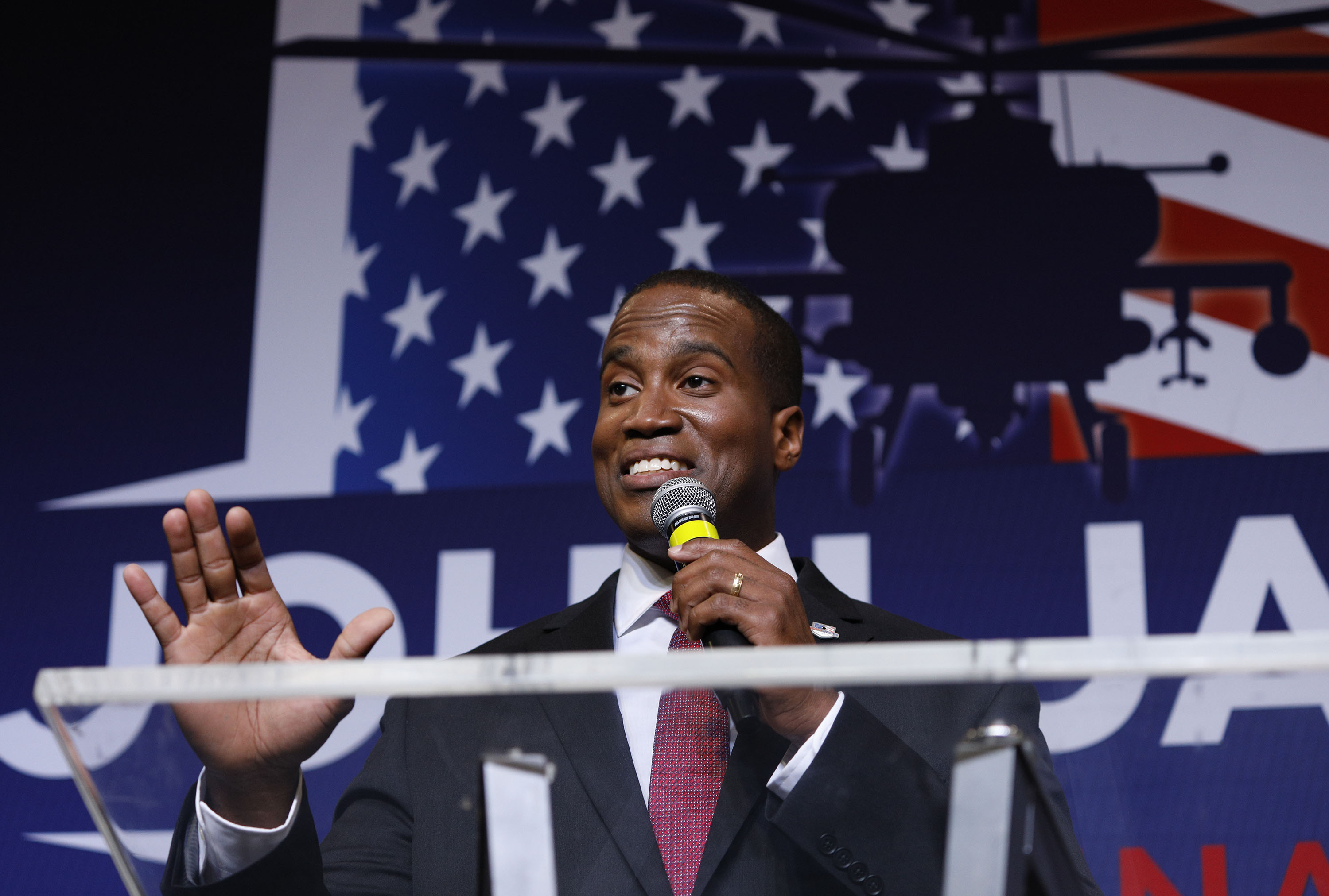 John James, Michigan GOP Senate candidate, speaks at an election night event after winning his primary election on Aug. 7th, 2018 in Detroit, Michigan.