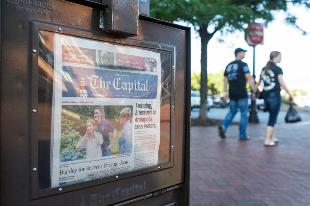 A newspaper stand selling the Capital Gazette is pictured in Annapolis, Maryland, on June 28, 2018.