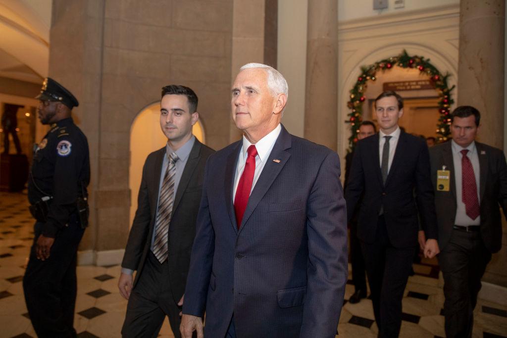 Vice President Mike Pence (C), and White House Senior Advisor Jared Kushner (2nd-R) leave Speaker of the House Paul Ryan's office on Capitol Hill on Dec. 21, 2018 in Washington, DC.