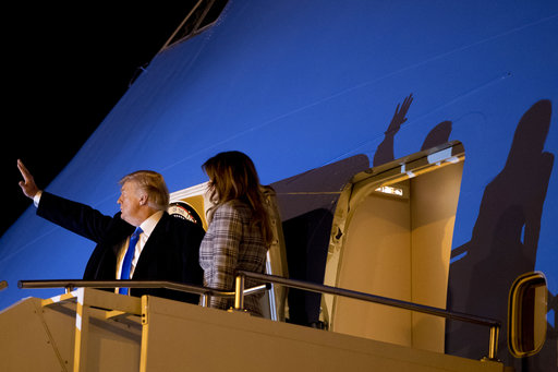President Trump and first lady Melania Trump board Air Force One at Pittsburgh International Airport on Oct. 30, 2018, after visiting the Tree of Life Synagogue.