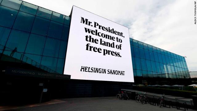 This billboard from Finnish newspaper, Helsingin Sanomat, appeared on the Helsinki Music Center.
