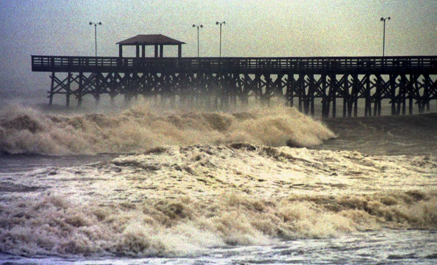 High waves and strong winds from Hurricane Fran crash in Myrtle Beach in 1996