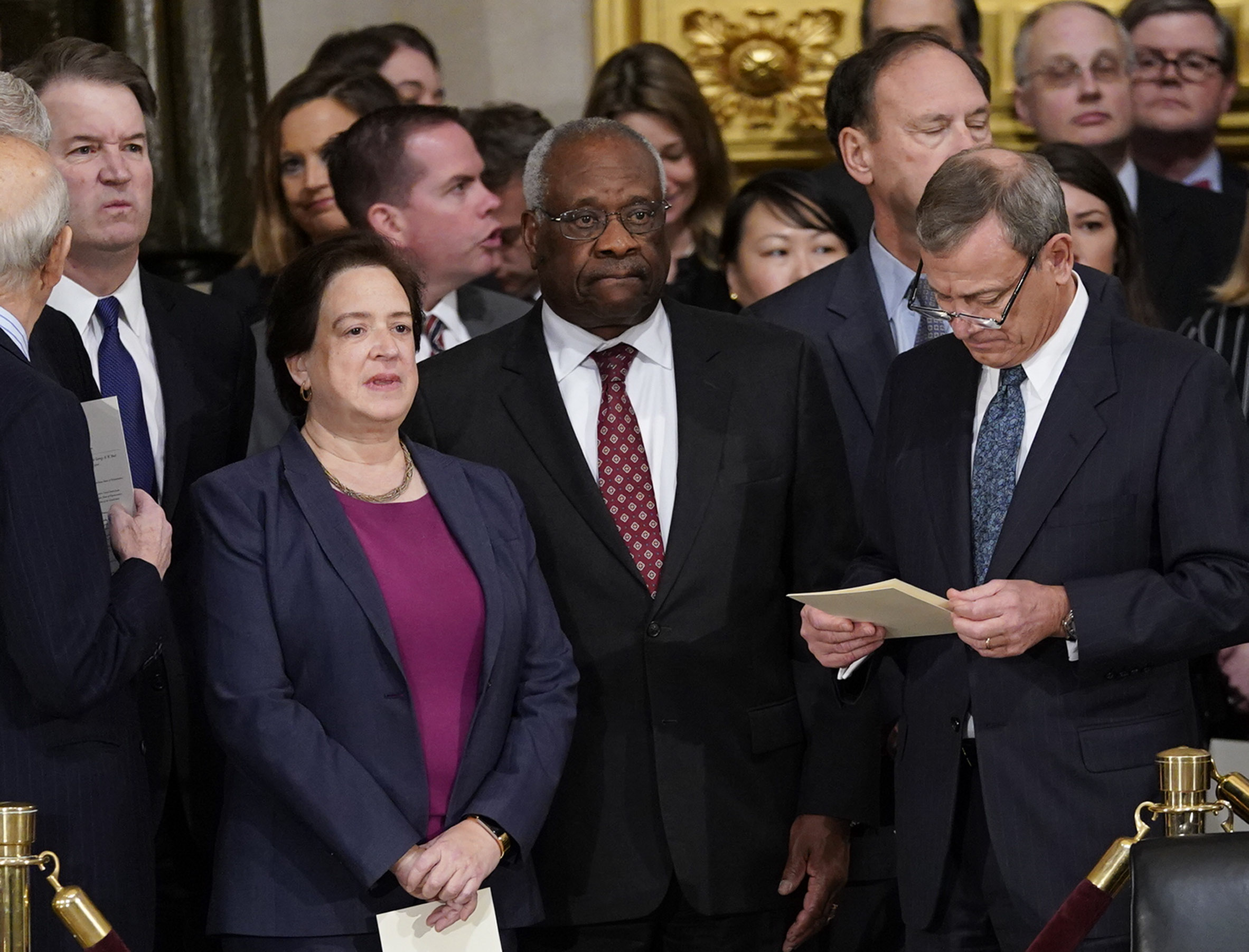 Associate Justices Brett Kavanaugh, Elena Kagan, Clarence Thomas, and Chief Justice John Roberts arrive for services for former President George H.W. Bush at the US Capitol Rotunda on Dec. 03, 2018 in Washington, DC.