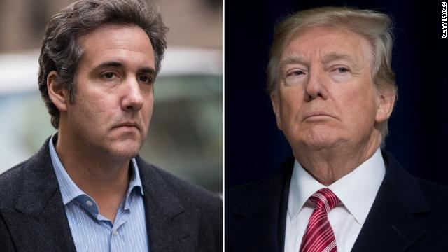 Michael Cohen (L) and President Trump.