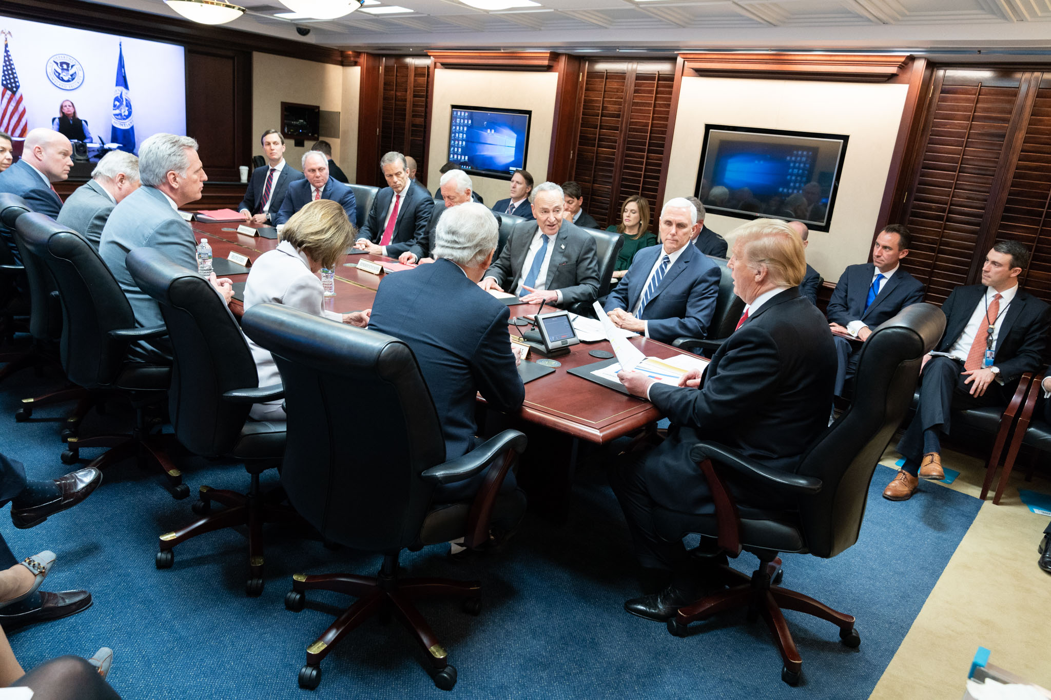 President Donald Trump and Vice President Mike Pence meet with Republican and Democratic congressional leadership on Wednesday, Jan. 2, 2019, in the Situation Room of the White House.