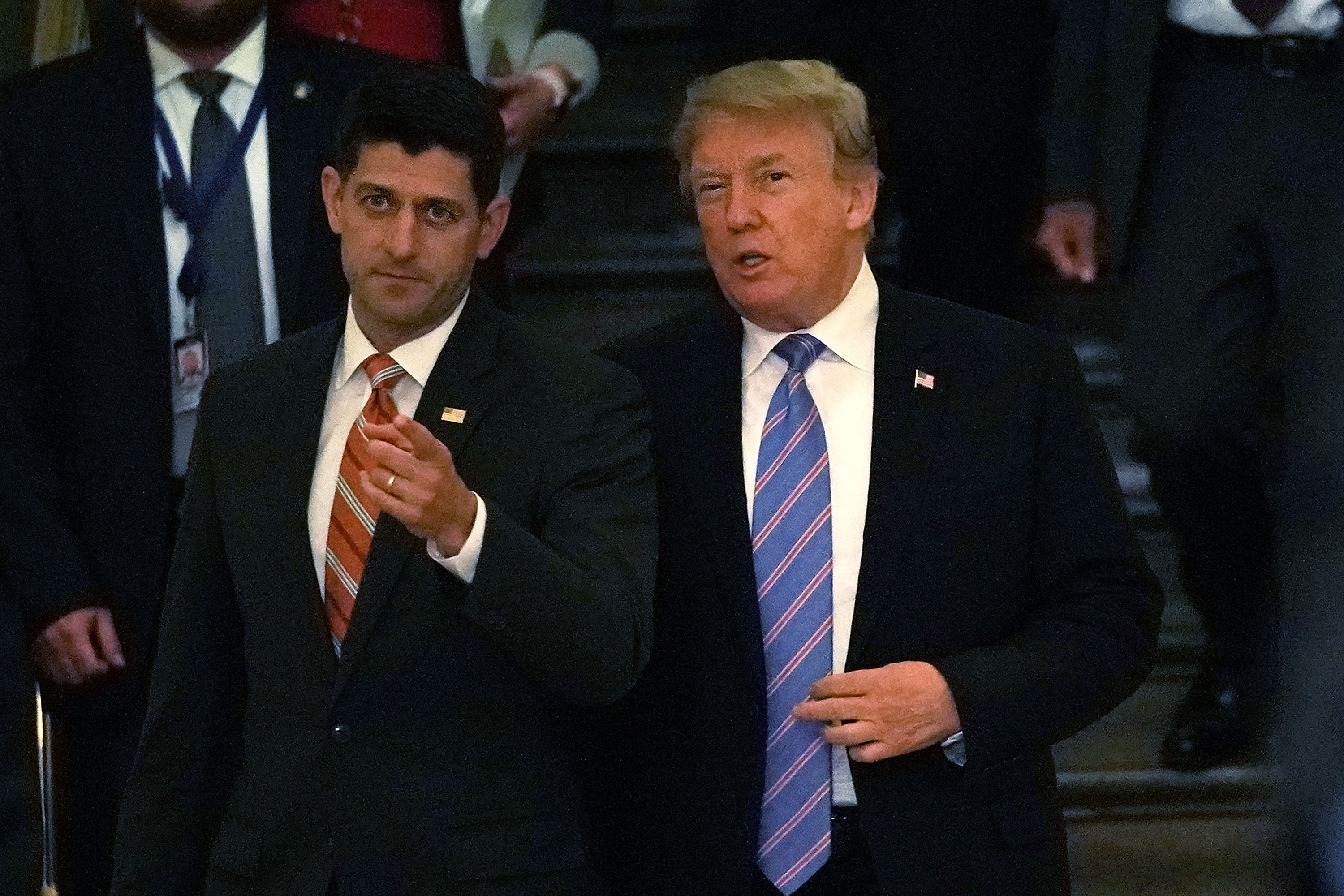 Paul Ryan and President Trump arrive on the Hill on June 19 to discuss immigration.