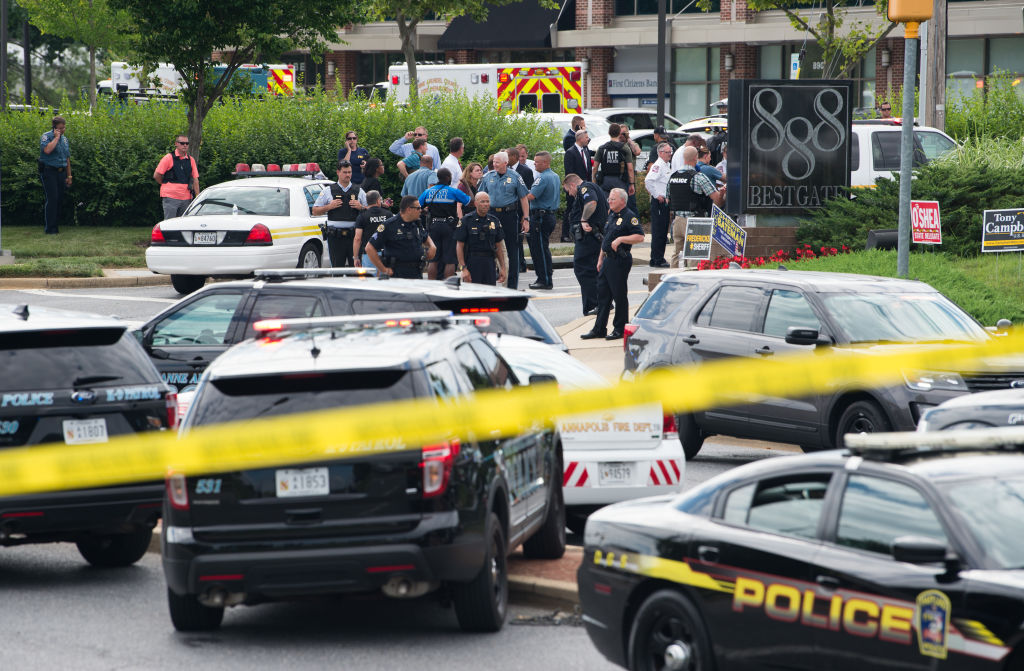 Police respond to a shooting in Annapolis, Maryland, June 28, 2018.