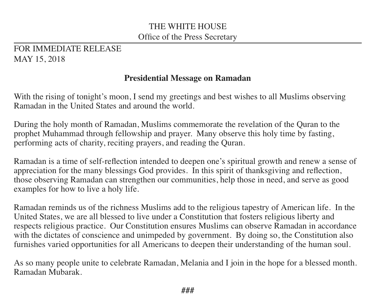 Trump Ramadan Greeting Hails Muslims Who Add To The Religious
