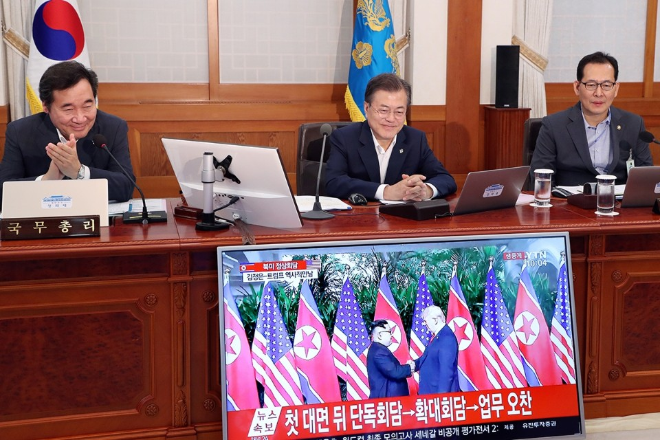 President Moon watching the North Korean and US Summit in Singapore from his cabinet meeting in Seoul, on June 12.