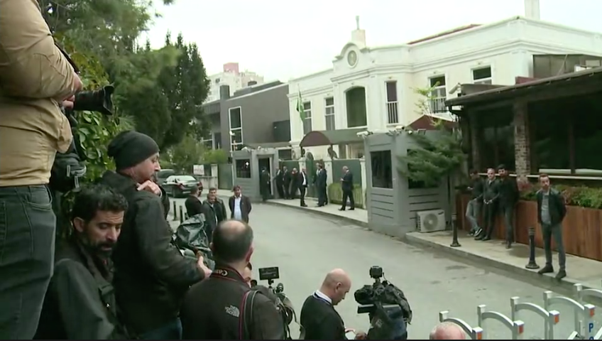 Journalists are gathered outside the Saudi consul's residence in Istanbul.