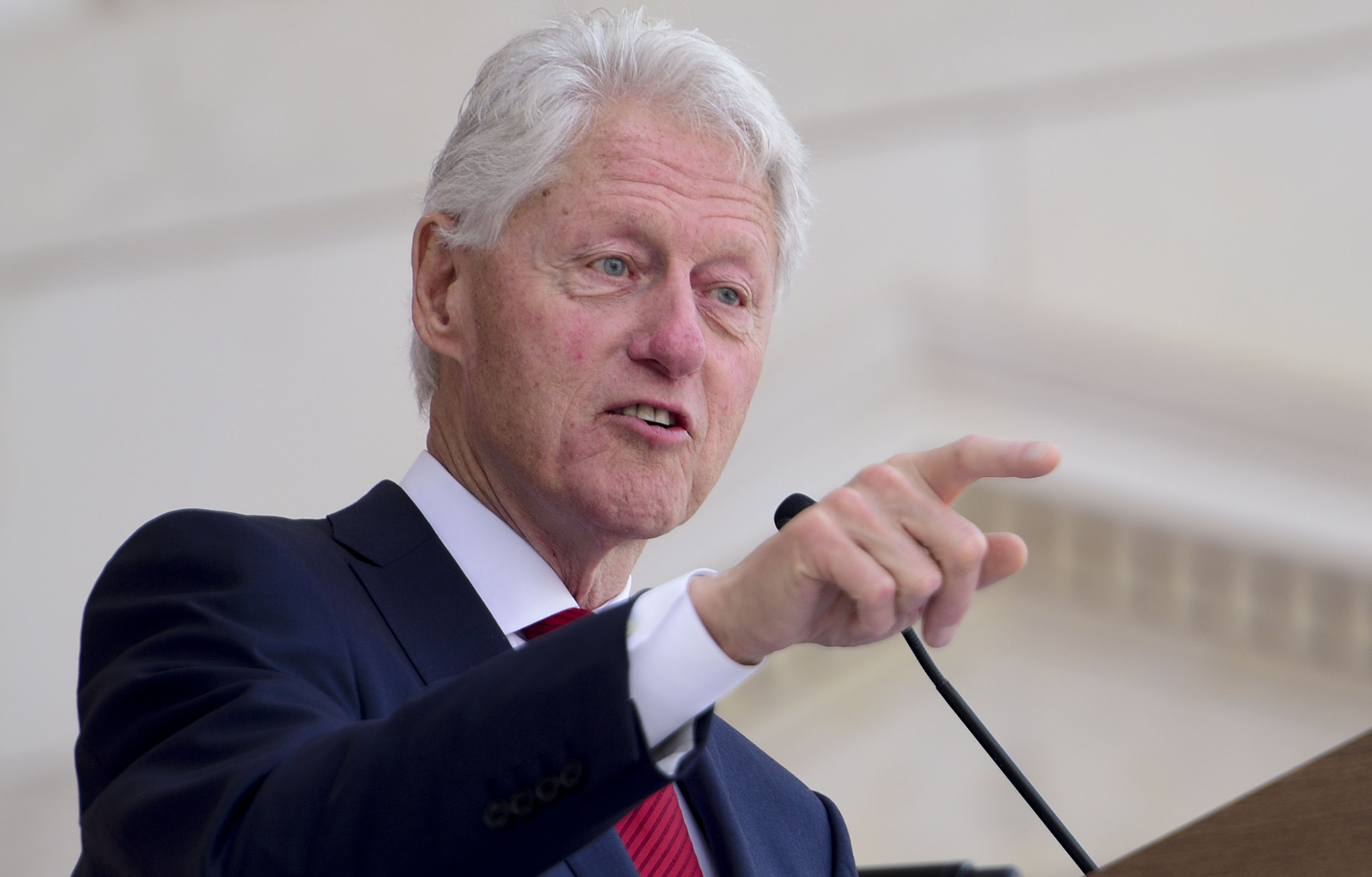 Former President Bill Clinton speaks during a Remembrance and Celebration of the Life & Enduring Legacy of Robert F. Kennedy event taking place at Arlington National Cemetery on June 6, 2018 in Arlington, Virginia.
