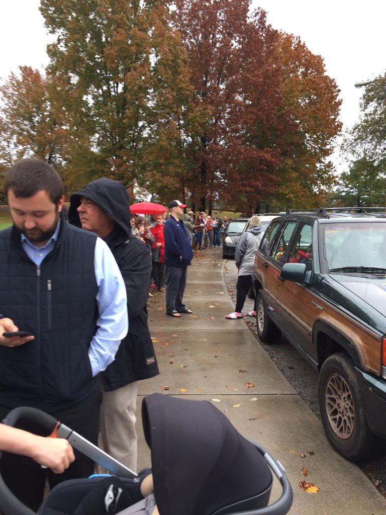 The voter line outside Cedar Bluff Middle School.