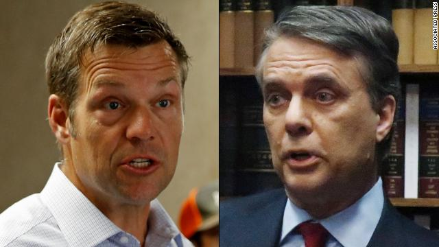 Secretary of State Kris Kobach (R) and incumbent Gov. Jeff Colyer