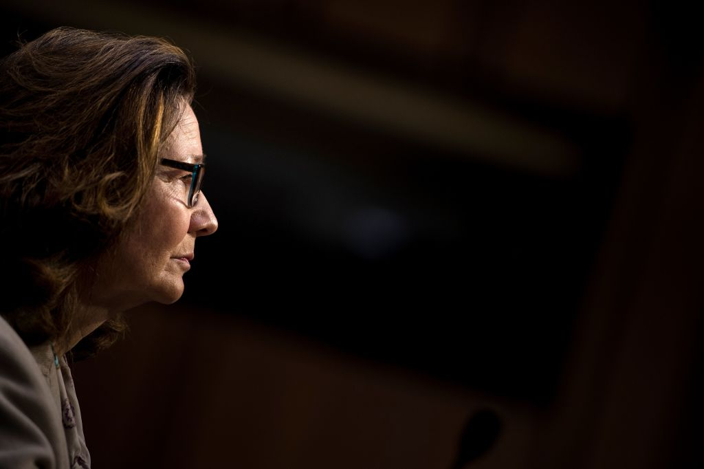 CIA nominee Gina Haspel listens during her confirmation hearing before the Senate Select Intelligence Committee on Capitol Hill May 9, 2018 in Washington, DC.